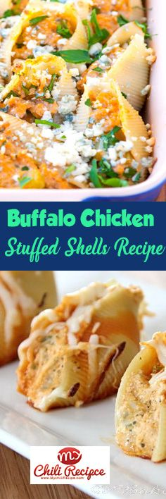 Buffalo Chicken Stuffed Shells Recipe, #buffalo_chicken , #chicken_recipes
