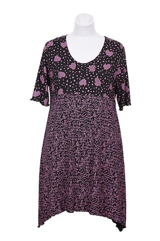 Pink and Black Viscose Top, in Hearts and Scribble Print, designed and manufactured by Hayley Joy Shop. R699. Sizes Small - 4XL.  Like us on Facebook at Hayley Joy Shop.