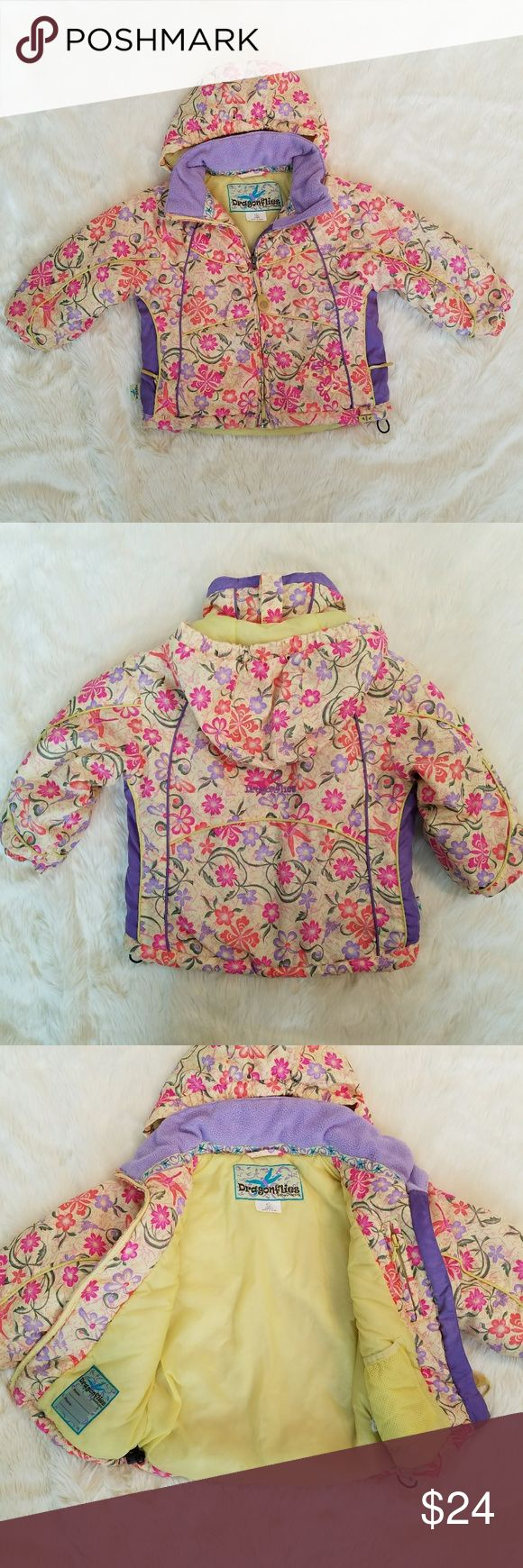 Size 4 girls Snow Dragons winter coat Girls size 4 dragonflies by Snow Dragons winter coat with hood. Two inside zip pockets plus exterior zip pockets toggles around waist to adjust tightness elastic cuff at wrist dragonflies logo embroidered on back. Colors may appear differently in person than on digital devices. Excellent condition, no stains tears or holes. Snow Dragons Jackets & Coats Puffers