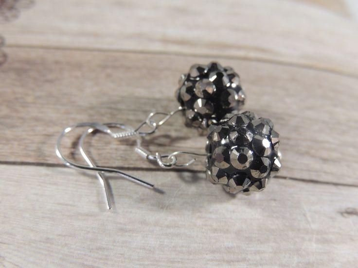 Black sparkling 925 stamped sterling silver earrings