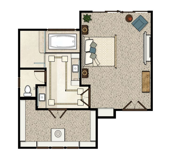 Master bedroom floorplan by garrison hullinger interior for 12x12 bedroom furniture layout