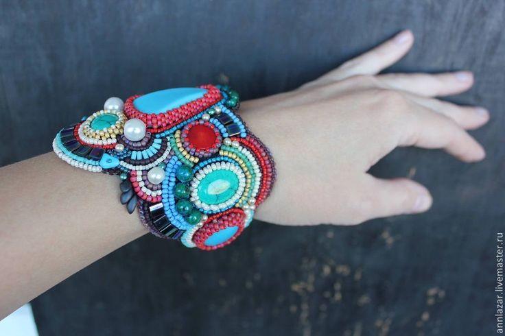 """Купить Браслет """"Непал"""" - бирюзовый, браслет, широкий браслет, Вышивка бисером, бирюза, коралл, яркий"""