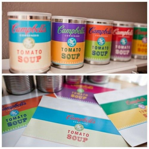 DIY Free Andy Warhol Campbell Soup Inspired Labels. Download the six different colors at Katie Day Photography here. Awesome art debate discussion topic!