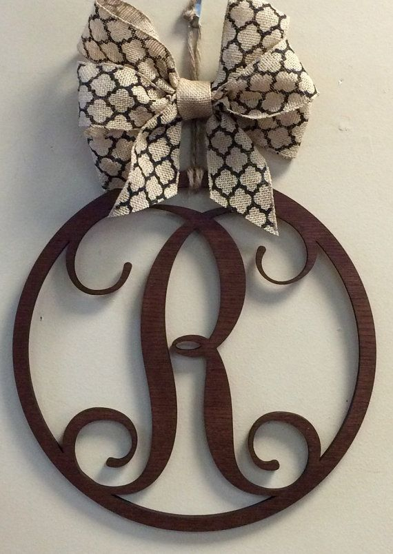 Wood Monogram Vine Circle Hanger Burlap Bow by CustomDecorAndGifts