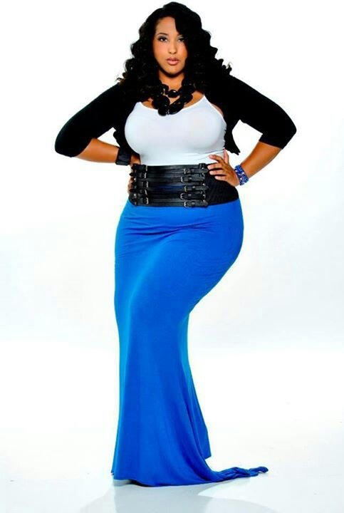 Black Cropped Cardigan, White Tank Top, Blue Maxi Skirt with a Black Belt and Statement Necklace