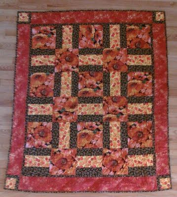 quilt patterns with large prints   was given some large print floral fabrics to play with. These are ...