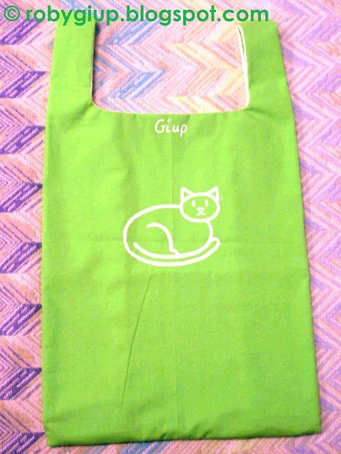 RobyGiup handmade: borsa della spesa in stoffa con gatto dipinto a mano - Fabric shopping bag with hand-painted cat