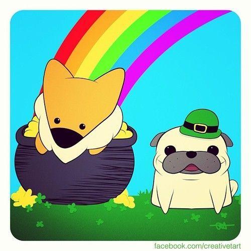 Pug and corgie art | St. Patty's day, everyone! #creativetart #adobeideas #corgi #pug ...