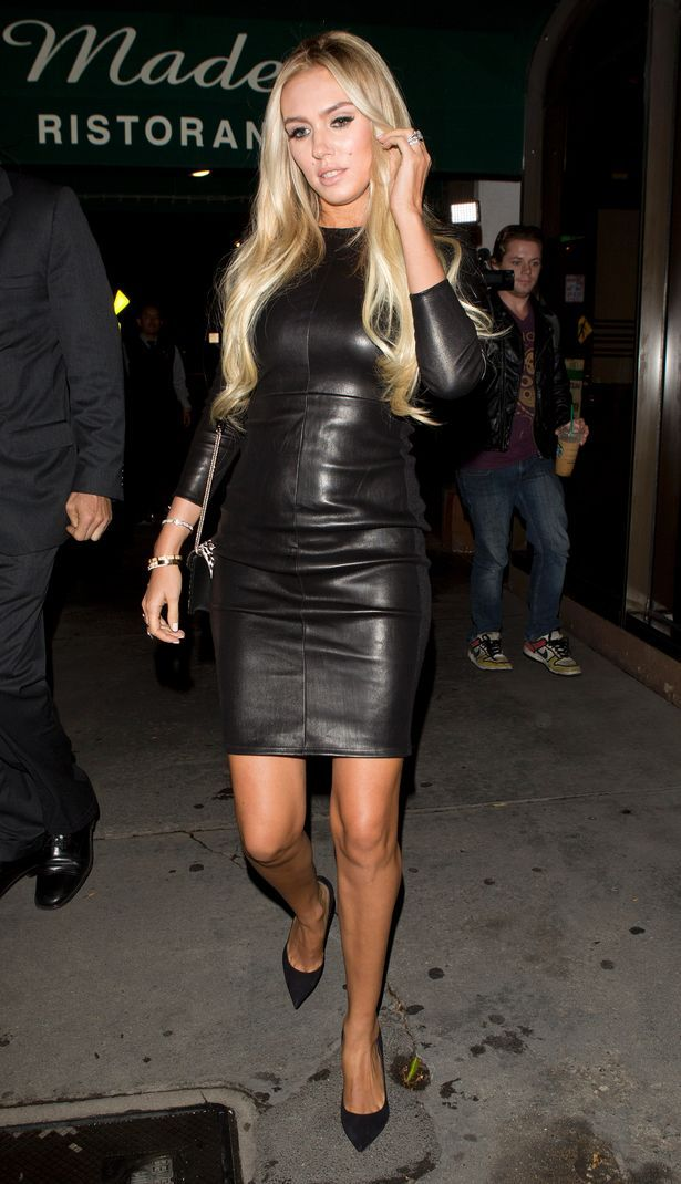 Petra Ecclestone wears a beautiful mini #black #leather #dress