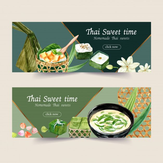 Download Thai Sweet Banner Design With Thai Pudding Watercolor