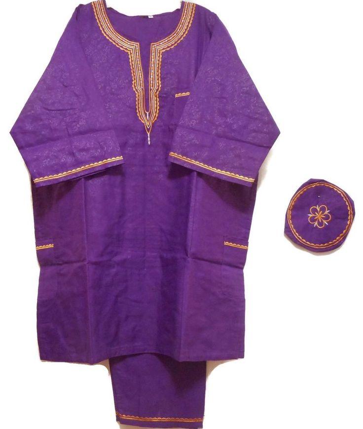 African Suit Ethnic Men Pant Suit Traditional Cultural Pant Set 1Siz Purple Gold #Handmade #TraditionalPantSuit