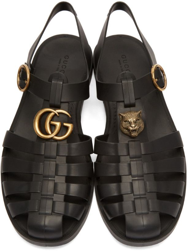 0d0ed7763f4f Gucci - Black Glossy Rubber Sandals