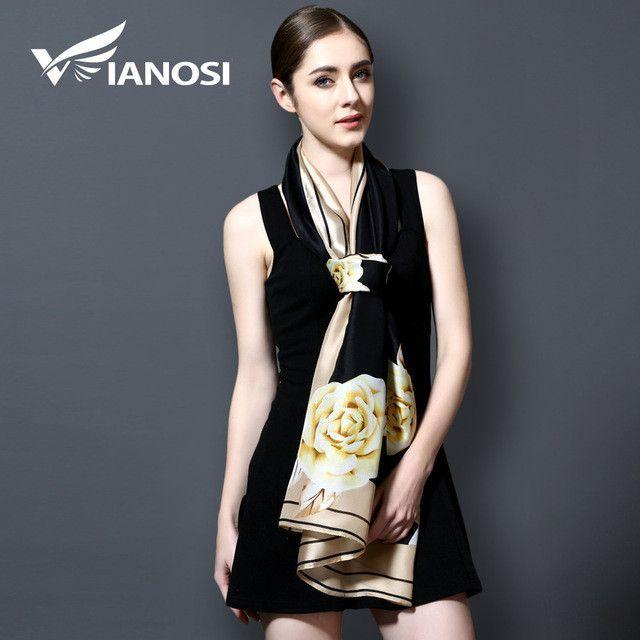 [VIANOSI] 2017 Fashion bandana Long Shawls Gold Printing Silk Scarf Luxury Brand Scarves Women Scarf With Beach VA100