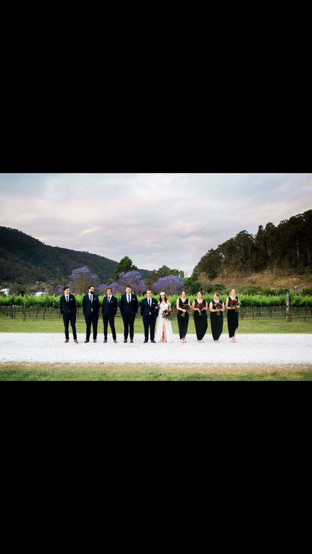Bridal party. Green and navy blue