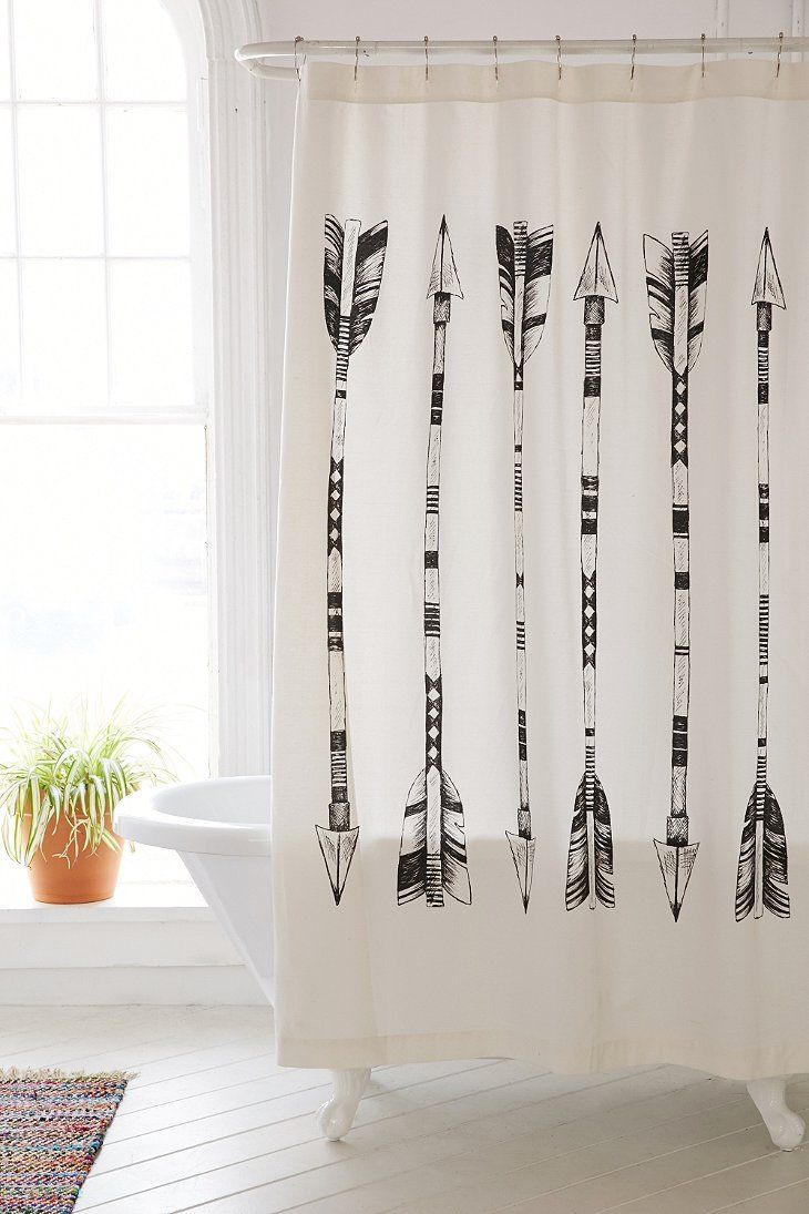 4040 locust black white arrows shower curtain window for Urban bathroom ideas