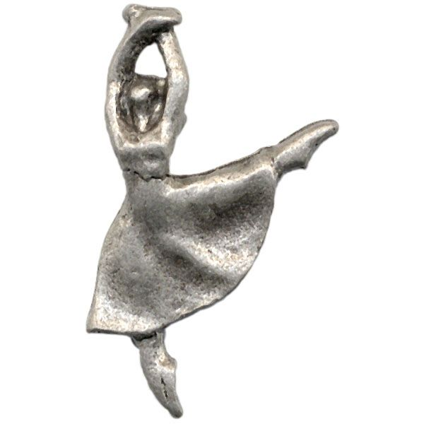 Antiqued Silver Plated Pewter Charm, Dancing Ballerina, Cast