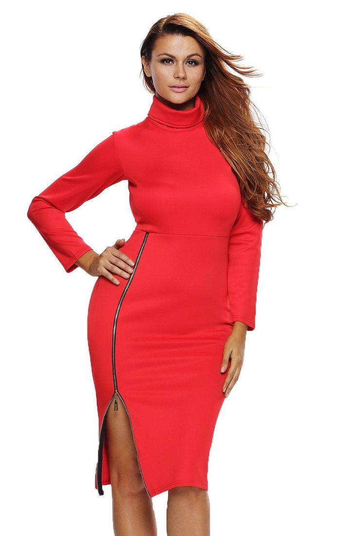 Prix: €15.99 Robe Midi Rouge Col Roule Manches Longues Fermeture Eclair Fendu Pas Cher www.modebuy.com @Modebuy #Modebuy #Rouge #femme #mode
