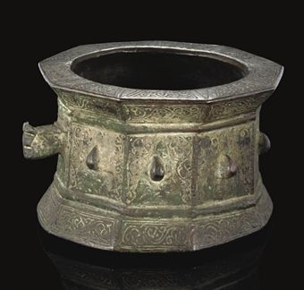 A KHORASAN BRONZE MORTAR, IRAN, 12TH CENTURY.