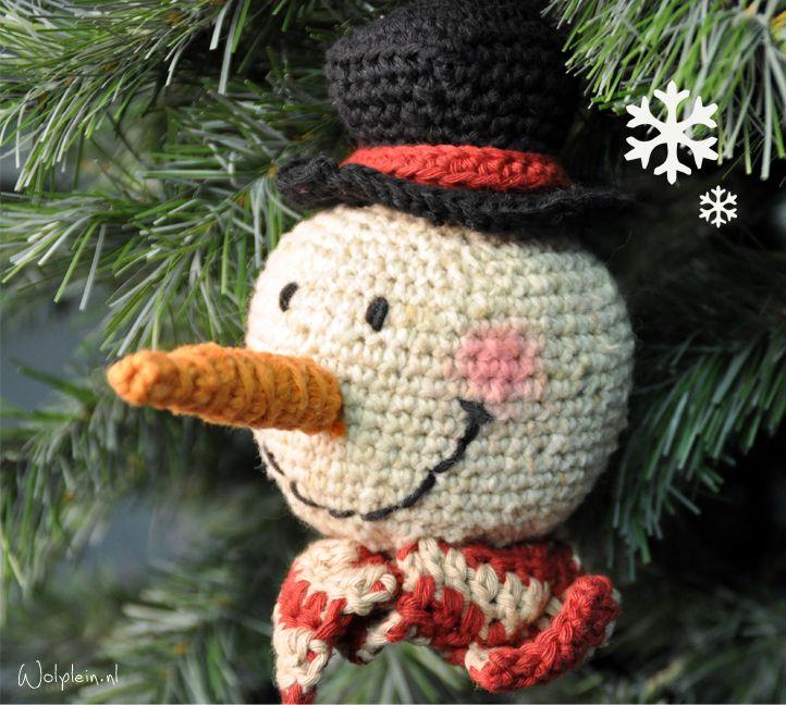 Sneeuwpop haken - gratis patroon - wolplein.nl