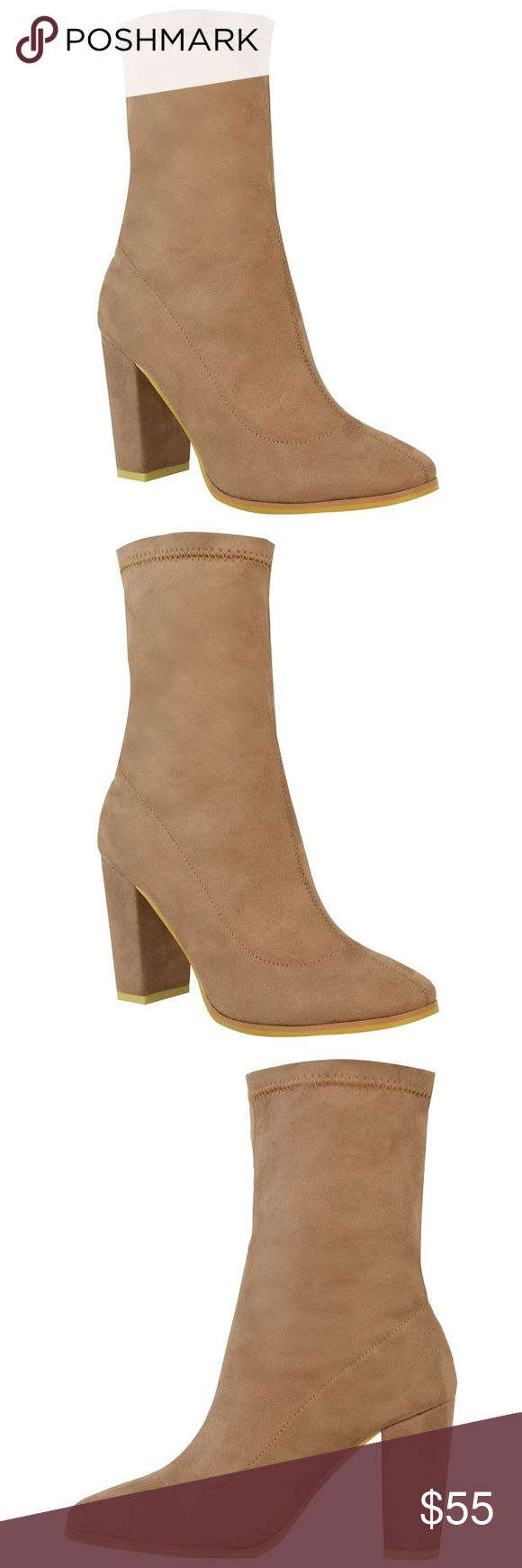 """• New arrival • Nude sock booties Nude sock booties ↠ Sizes 6, 7, 8 available ↠ Faux suede ↠ As seen on Kylie Jenner!!!! ↠ Heel: 3.6"""" ↠ Pull on fastening, zipper on side Shoes Ankle Boots & Booties"""
