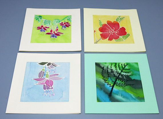 Set Of 4 Floral Cards Blank Greeting Cards Hand Painted Silk