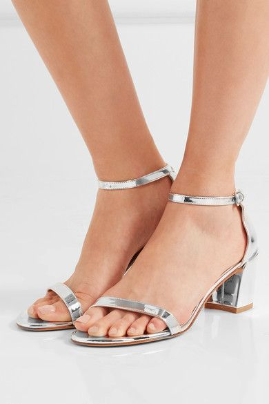 Heel measures approximately 65mm/ 2.5 inches Silver leather Buckle-fastening ankle strap   Made in Spain
