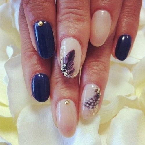 Blue and Nude nails  #nail #nails #nailart #unha #unhas #unhasdecoradas