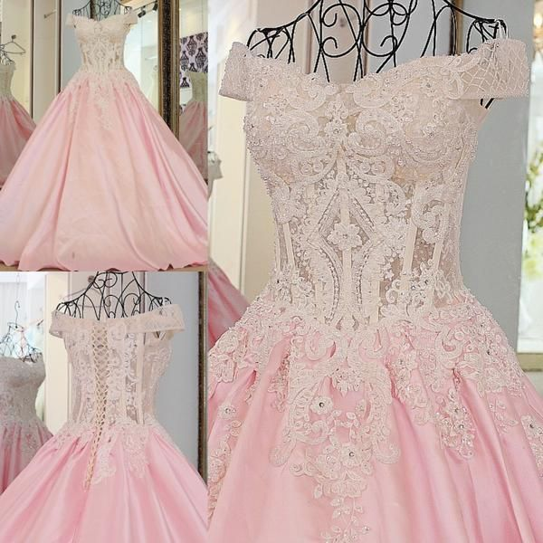 AHS045 New Arrival A-Line Off-Shoulder Pink Prom Dresses with White Lace 2017