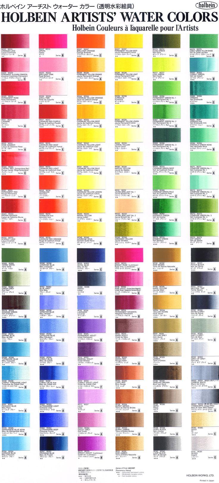 Folk art color chart acrylic paint - Holbein Color Chart