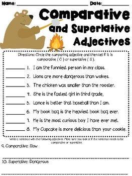 Comparative And Superlative Adjectives Worksheet L3 1g