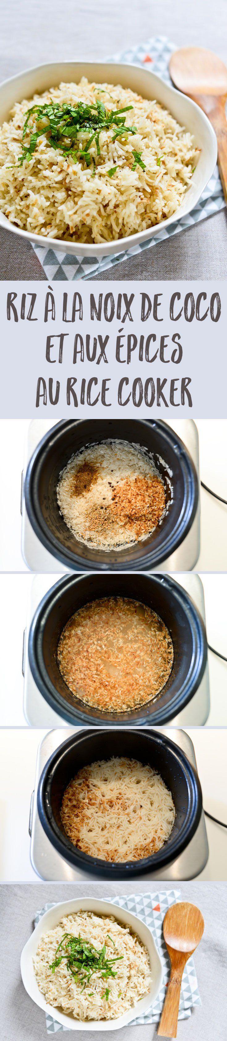 Une recette ultra simple pour préparer du riz à la noix de coco et aux épices au rice cooker en quelques minutes. Le parfait accompagnement pour un curry !