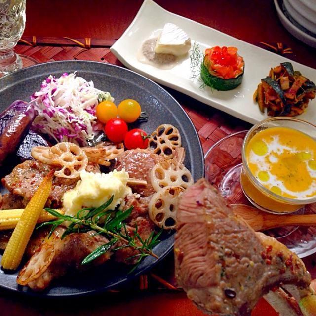 おっされ~(*´∀`)お酒がすすみそうな♪ あみちゃん、アイコンが変わった♪かわゆーい(//∇//) - 107件のもぐもぐ - Today's Dinner前菜・冷製スープ・ラムチョップの香草焼き by Ami