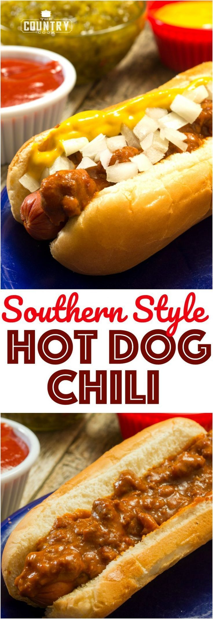 Southern Style Homemade Hot Dog Chili with Ground Beef and No Beans recipe from The Country Cook
