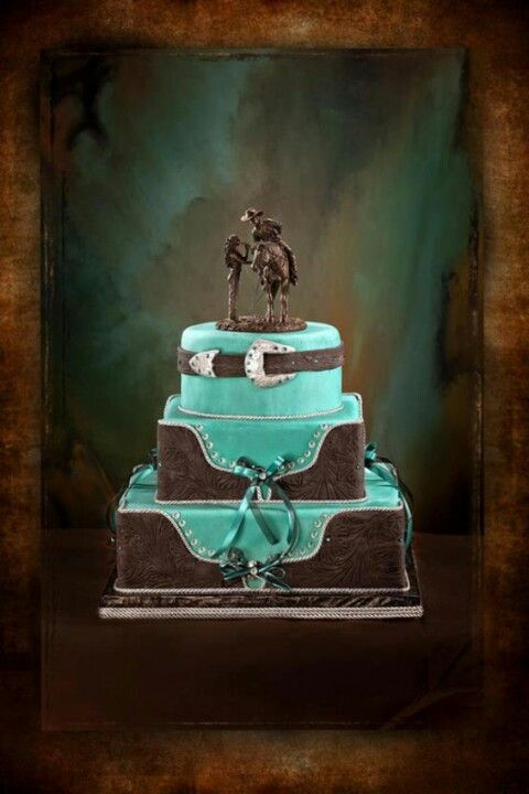 "Western wedding cake--a small version of this with cupcakes on the side for the guest. We would leave the ""leather"" dark brown, and make the mint pink!!"