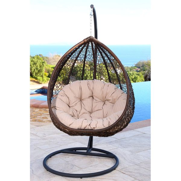Abbyson Living Newport Outdoor Brown/ Beige Wicker Swing Chair ($438) ❤ liked on Polyvore featuring home, outdoors, patio furniture, outdoor chairs, beige, outdoor furniture, outdoor wicker patio furniture, wicker swing, brown wicker patio furniture and outdoor swing