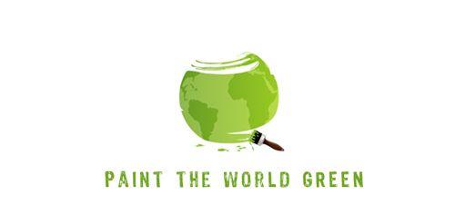 рисовать мировой зеленый логотип