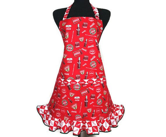 Retro Kitchen Apron for Women  Coca Cola Red with by ElsiesFlat