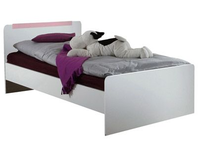 "LIT ""MAJA"" - coloris blanc alpin et rose, 90x200 cm - code article :   142388. CONFORMAMA. 152 CHF"
