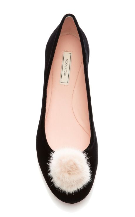 {Nina Ricci Velvet Flats with Mink Pom-Pom} - completely obsessed with these perfectly pink pom-pom flats!