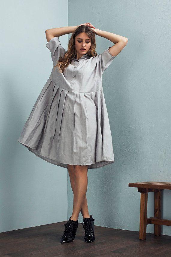Oversized dress - Light grey dress - Loose dress - Casual dress - Pleated dress…