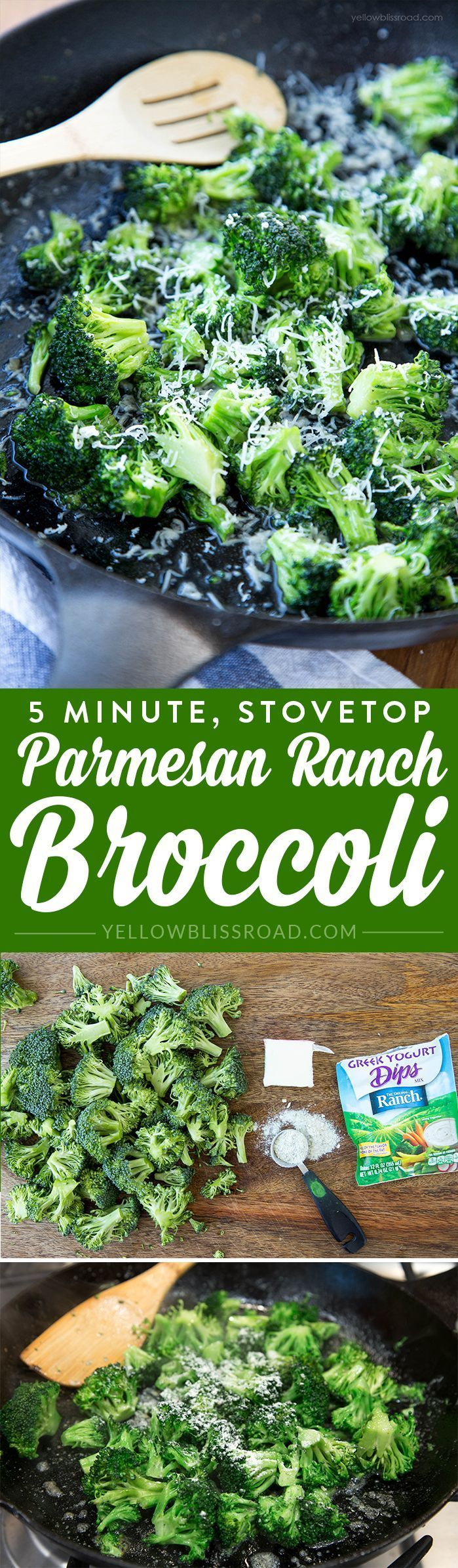 5 Minutes Stovetop Ranch Parmesan Broccoli Recipe | Yellow Bliss Road