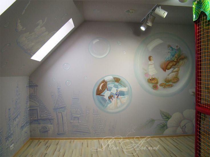 Детская игровая комната в кафе.Роспись стен.Children's room at the cafe.Painting the walls.