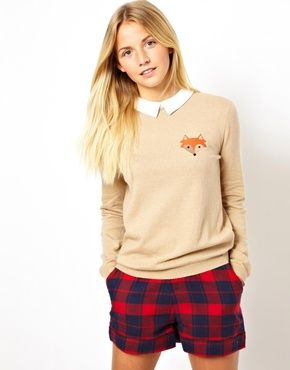 I am picturing this sweater with skinny jeans and knee high boots or wellies.... ASOS Jumper With Fox Patch And Collar