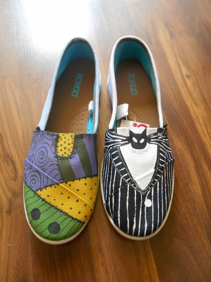 Sally and Jack Skellington Nightmare Before Christmas painted canvas shoes by ImWithTheMouse on Etsy