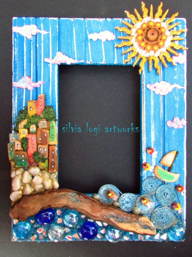 #photoframe #sea #boat #fish #sun in #wood and #mixedmedia #mosaic, see more on my FB https://www.facebook.com/pages/Silvia-Logi-Artworks/121475337893535?ref=br_rs