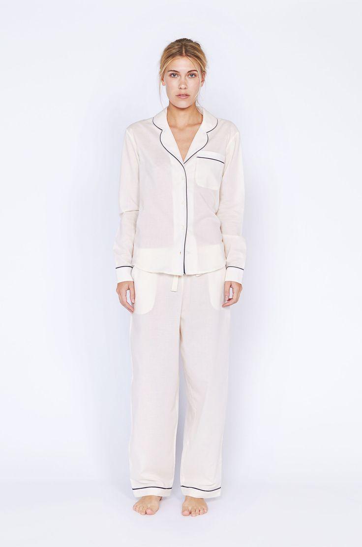 Pre Order: Classic Cream Long Luxury Cotton Womens Pyjama Set