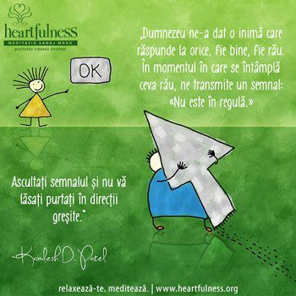 """""""Dumnezeu ne-a dat o inimă care răspunde la orice, fie bine, fie rău. În momentul în care se întâmplă ceva rău, ne transmite un semnal: «Nu este în regulă.» Ascultați semnalul și nu vă lăsați purtați în direcții greșite."""" ~ Kamlesh D. Patel #heartfulness   #inspiratii_zilnice   #hfnro Heartfulness Romania - Google+"""