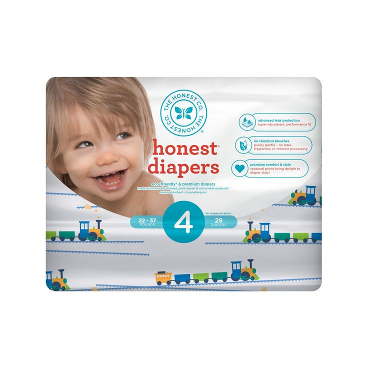 Honest Company Diapers, Trains - Size 4 (29ct)
