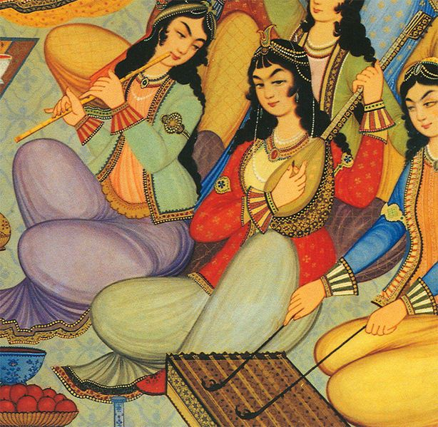 "Painting of Iranian female musicians from Hasht-Behesht Palace (""Palace of the 8 heavens""), Isfahan, Iran, dated 1669."
