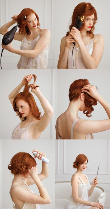 A lovely low side bun; her hair color is gorgeous!